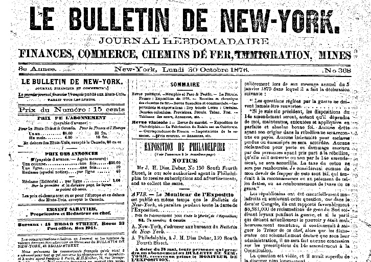 Le Bulletin de New-York, Journal Financier et Commercial