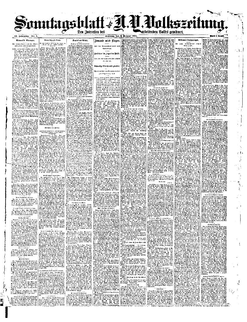 Sonntagsblatt der N.Y. Volkszeitung