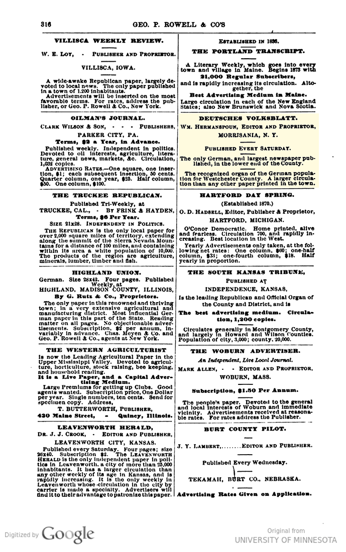 Deutsches Volksblatt Rowell ad