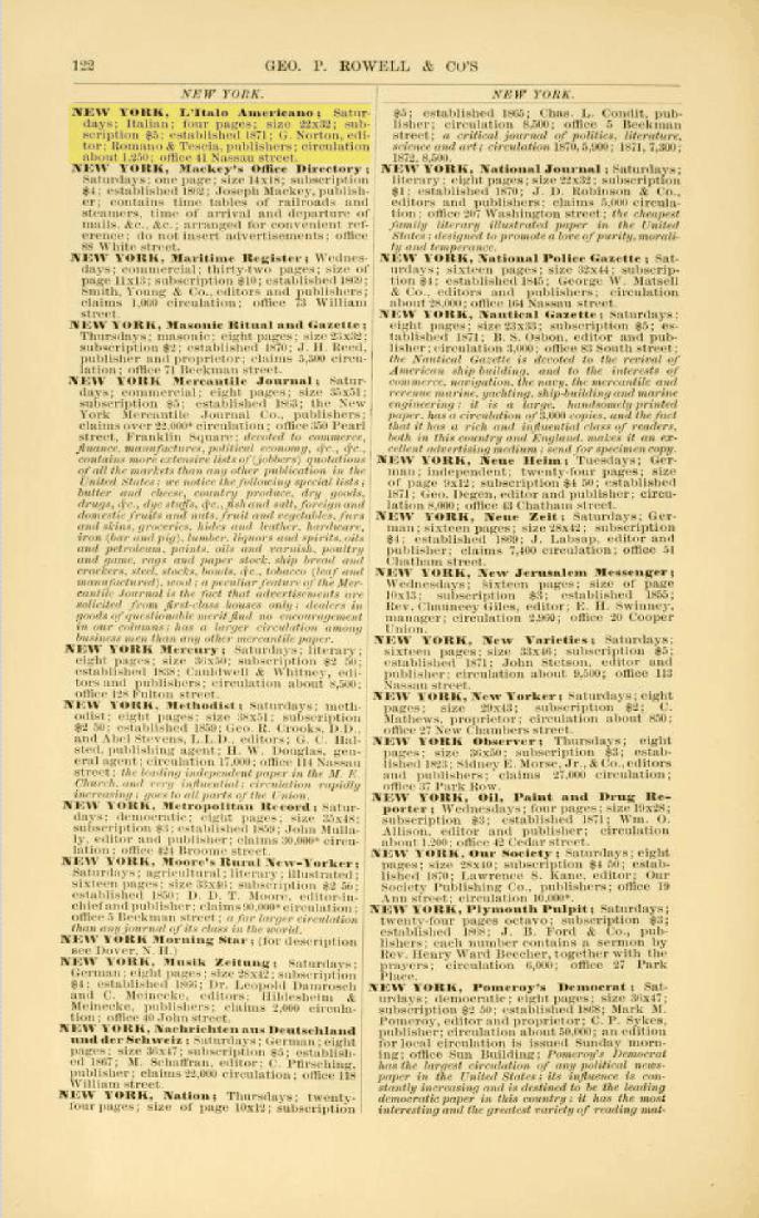 L'Italo-Americano Rowell listing