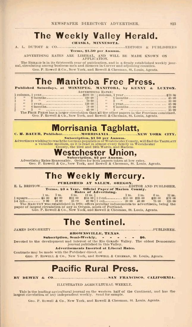 Morrisania Tagblatt